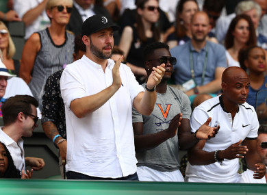 Alexis Ohanian at Centre Court yesterday.