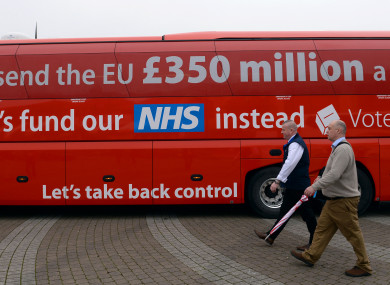 The Vote Leave campaign bus in Cornwall ahead of the referendum.