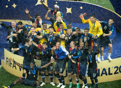 France players celebrate their World Cup triumph.