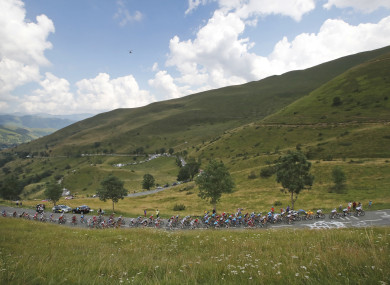 The pack climbs Col de Val Louron-Azet pass during the seventeenth stage of the Tour de France.