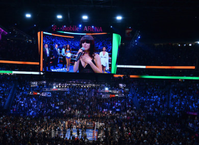 Imelda May performs the Irish national anthem before the McGregor-Mayweather fight at the T-Mobile Arena in Las Vegas.
