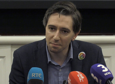Minister for Health Simon Harris addresses the media.