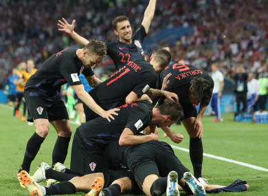 Croatia players celebrate.
