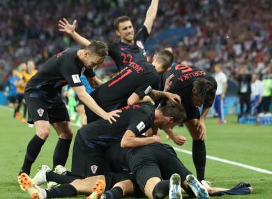 Croatia players celebrate.