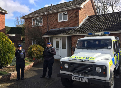 Police Community Support Officers standing outside the Salisbury home of Sergei Skripal in March of this year.