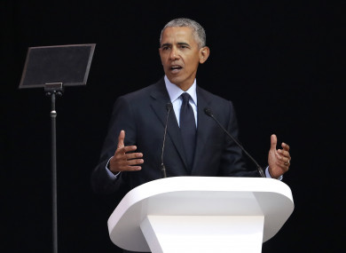 Former US President Barack Obama delivers his speech at the 16th Annual Nelson Mandela Lecture at the Wanderers Stadium in Johannesburg, South Africa