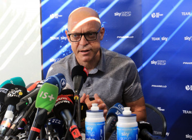 Team Sky's Dave Brailsford during a press conference.