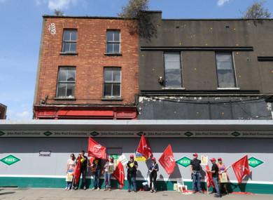 Archaeologists in Dublin city centre on a day-long strike last Thursday.