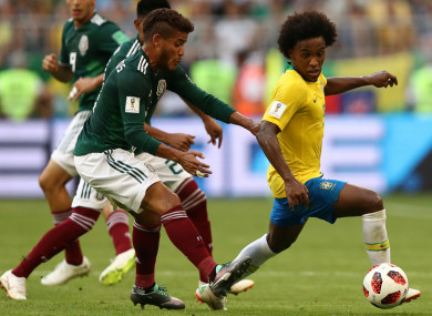 Brazil's Willian in action against Mexico