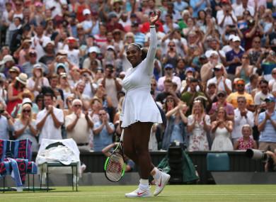 Serena Williams after winning her match against Evgeniya Rodina.