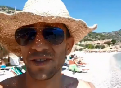 A screenshot from the video in which Adam Catzavelos uses the 'k-word'