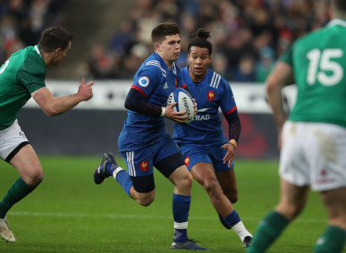 Matthieu Jalibert in possession for France during their Six Nations clash with Ireland
