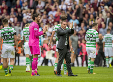 Celtic Manager Brendan Rodgers after defeat during the Ladbrokes Scottish Premiership match at Tynecastle Stadium.