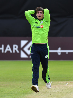 Josh Little reacts to a bowling attempt.