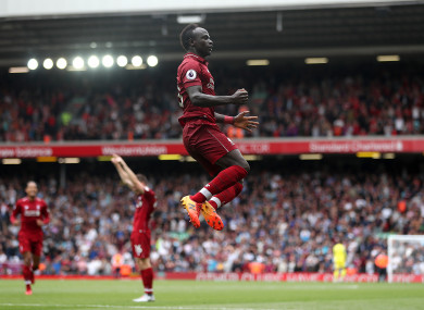 Sadio Mane celebrates scoring for Liverpool at Anfield.