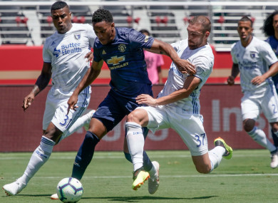 Martial in action against the San Jose Earthquakes last month.