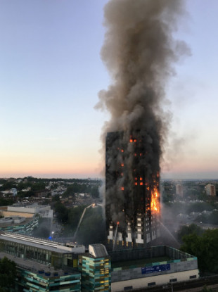 Grenfell Tower on fire on 14 June 2017.