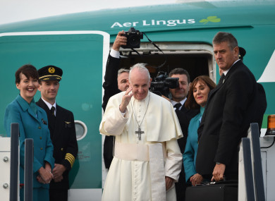 The pope boarding his flight back to Rome.