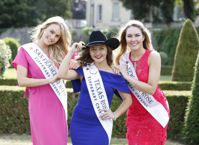 2018 San Francisco Rose Annie Powers, Texas Rose Kimberly Corser, and New York Rose Sarah Ward at the official introduction of the pageant's contestants last week in Dublin