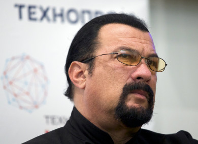 Steven Seagal speaks at a news conference