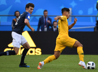 Arzani in action against France's Benjamin Pavard at this summer's World Cup.