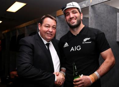 New Zealand lock Sam Whitelock and head coach Steve Hansen