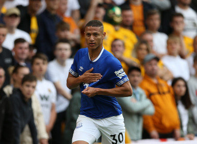 Everton's Richarlison celebrates scoring.