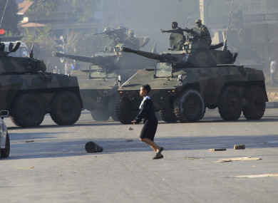 Military tanks in Harare following demonstrations by opposition party supporters.