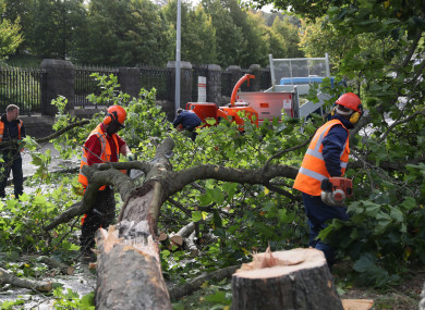 Workmen deal with a fallen tree on Finglas Road, Dublin