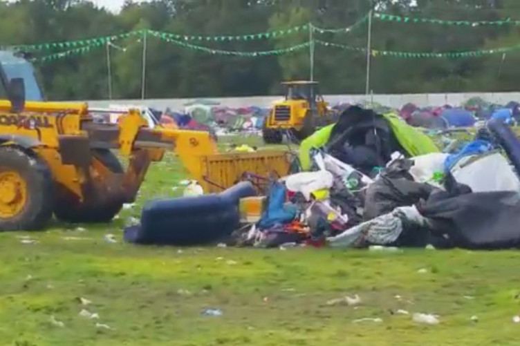 Thousands of tents left behind at Electric Picnic campsite