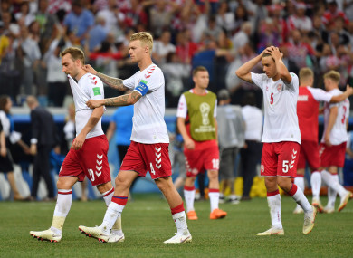 The Danish players after their World Cup exit to Croatia.