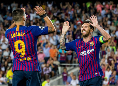 34a24bf1fe7 Messi bags hat-trick to equal Raul's Champions League goal-scoring record  as Barcelona thump PSV