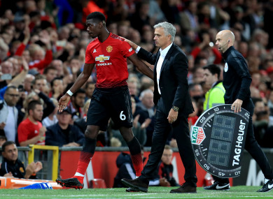 Paul Pogba and Man United manager Jose Mourinho.