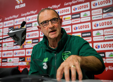 Ireland manager Martin O'Neill during Monday's press conference in Wrocław.