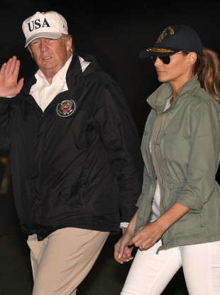 Trump and his wife Melania following a trip to Puerto Rico last year.