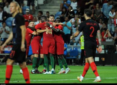 Pepe celebrates his goal.
