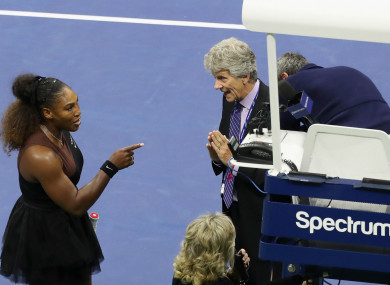 Serena Williams argues with US Open officials.
