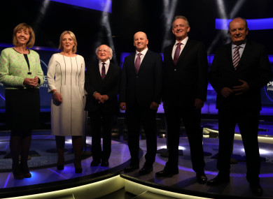 The candidates line up in the RTÉ studios.