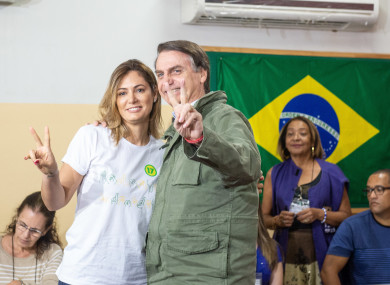 President elect Jair Bolsonaro, is the latest far right leader to be elected to power. Bolsonaro pictured with his wife Michelle.