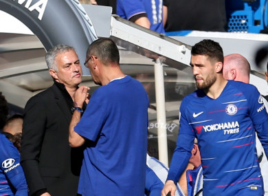 Mourinho alongside Chelsea manager Maurizio Sarri on Saturday.