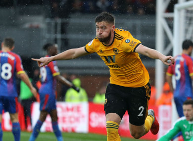 Wolves' Matt Doherty celebrates giving his side the lead.
