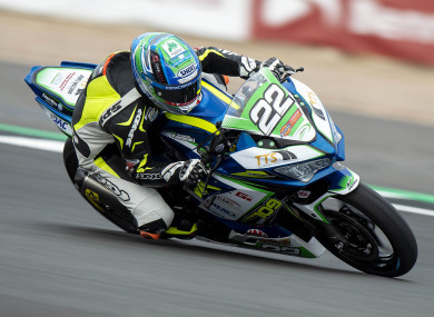 Eunan McGlinchey on his way to victory in the Dickies Junior Supersport race onboard the Team #109 Kawasaki.