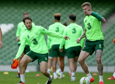 Harry Arter and James McClean pictured training at the Aviva Stadium today.