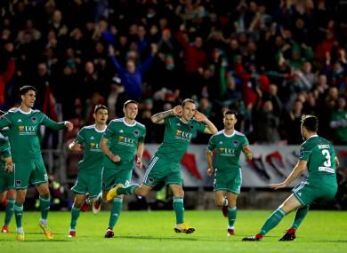Karl Sheppard celebrates with his Cork City team-mates.