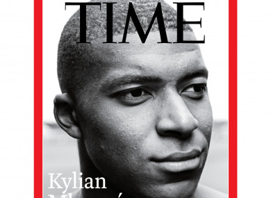 French World Cup winner Kylian Mbappé on the cover of Time magazine.