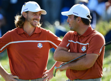 Tommy Fleetwood and Francesco Molinari at the Ryder Cup.