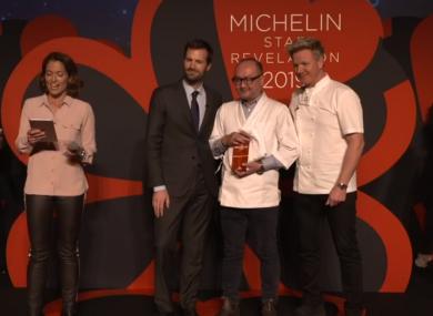 Chef Takashi Miyazaki receiving his star earlier.
