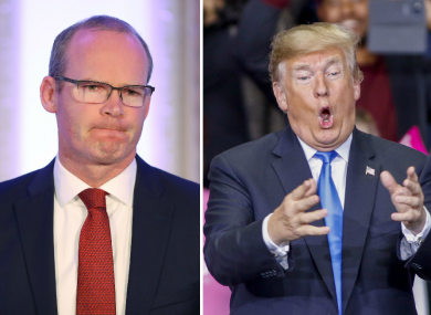 Simon Coveney (L) and Donald Trump (R)