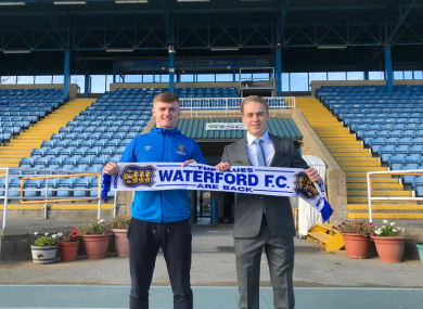 JJ Lunney with Waterford FC general manager Jack Power