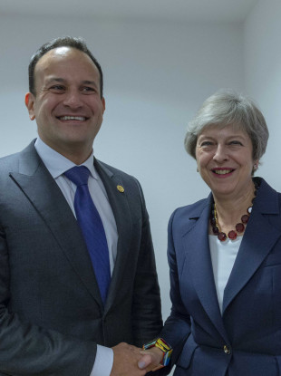 The Irish and British leaders in Brussels last month.